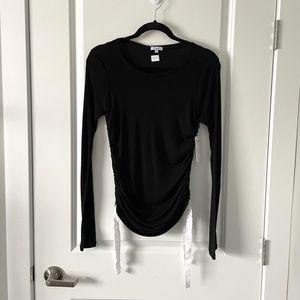 NWT SPLENDID / RUCHED BLACK LONG SLEEVE TOP